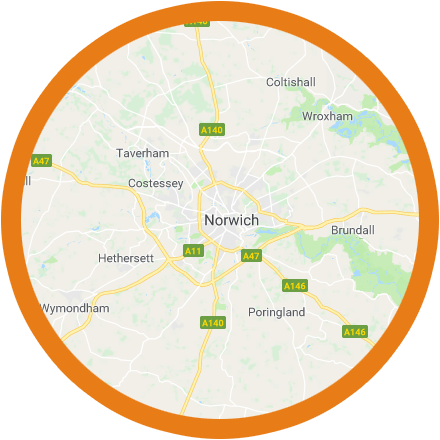 Areas in Norfolk covered